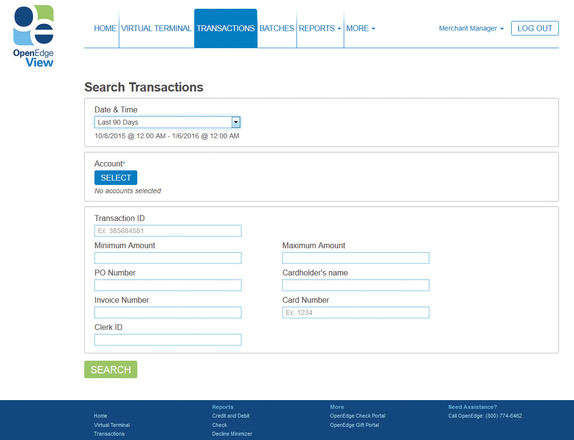 Search Transactions